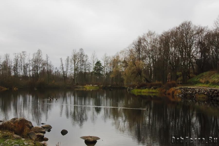 Обмелевшая река Вуокса.