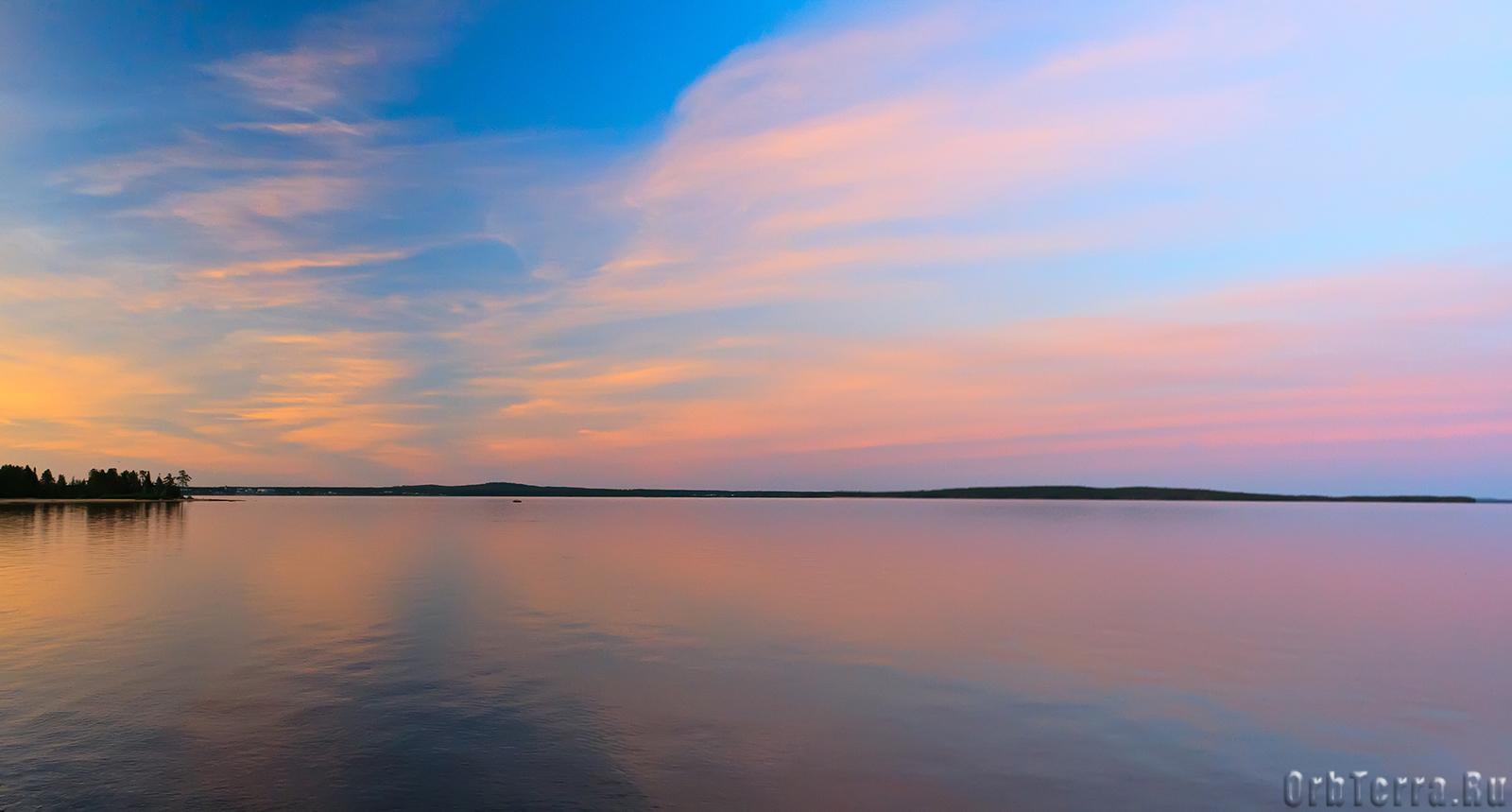 Озеро Среднее Куйто. Закат.