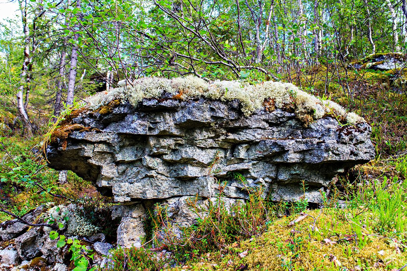 Скала возле водопада.